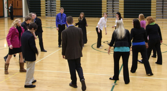 The speech team warms up prior to the Ham-Mer meet.